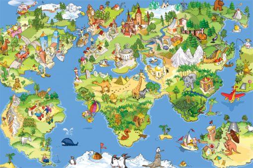 Foto-tapet bajkowa mapa świata