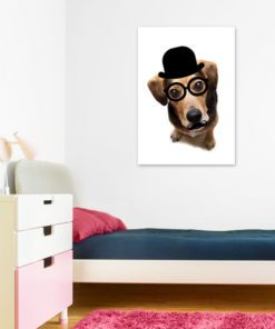 Plakat z pieskiem w kapeluszu