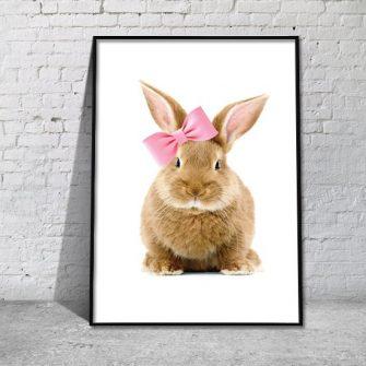 Plakat z króliczkiem w kokardzie