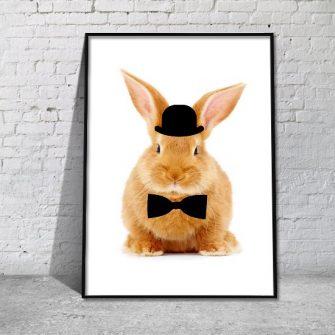 Plakat z króliczkiem w cylindrze