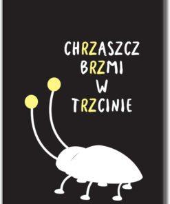 Plakat z napisem i chrząszczem
