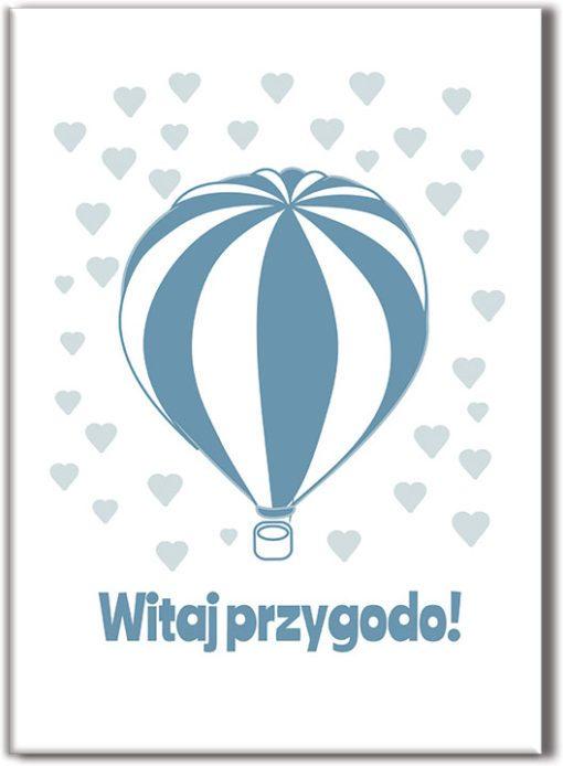 Plakat z balonem i napisem