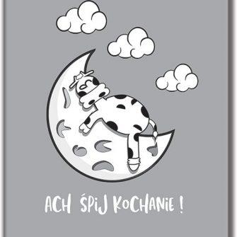 Plakat z krową na księżycu