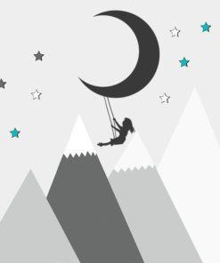 Dekoracja do pokoju dziewczynki z księżycem