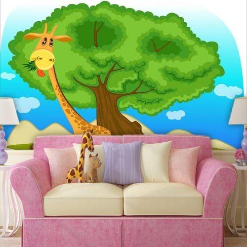 Tapeta żyrafa i drzewo