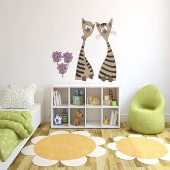 Naklejki do pokoju dziecka na ścianę kotki