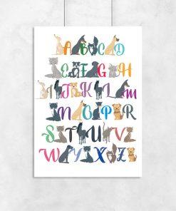 plakat ze zwierzątkami i alfabetem