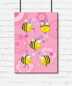 różowy plakat z pszczółkami do pokoju dziewczynki