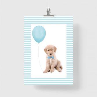 plakat z pieskiem i balonikiem do pokoju dziecięcego