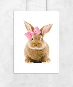 plakat z króliczkiem w kokardce do pokoju dziecka
