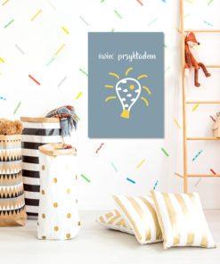 Plakat dla dzieci z napisem i żarówką