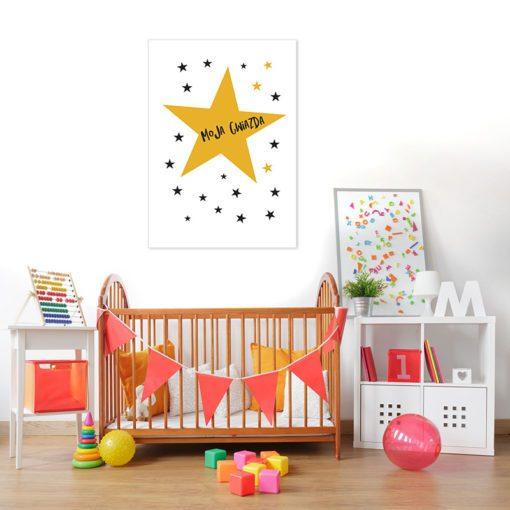 Plakat z napisem Gwiazda do pokoju dziecka