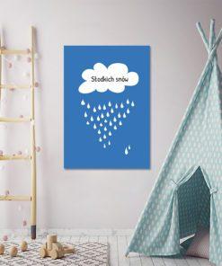 Plakat z chmurką z deszczem