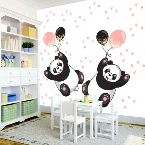 Fototapeta z pandami i balonikami