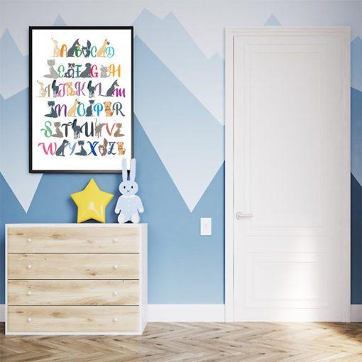 Plakat alfabet i zwierzęta