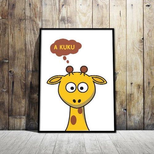 Plakat z żyrafą i napisem