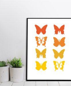 Plakat w ramie z motylkami