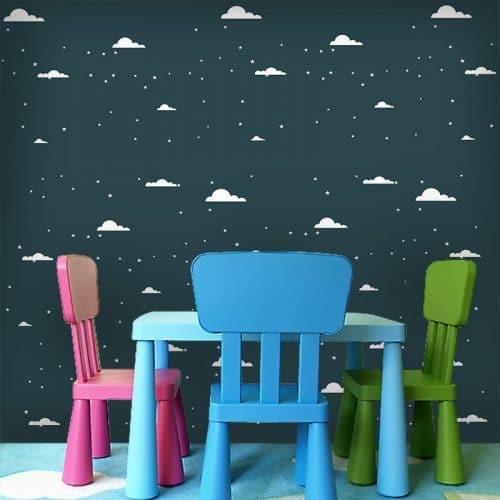 Dekoracja z gwiazdami i chmurkami