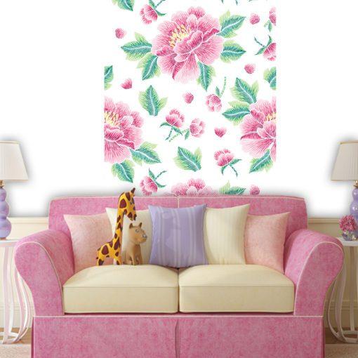 Foto-tapeta z różowymi kwiatami