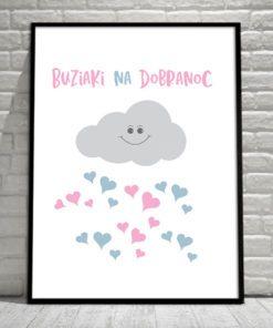 Plakat z serduszkami i chmurką