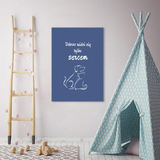 Plakat z psem i kotem i napisem