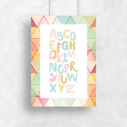 plakat do pokoju dziecka z pastelowym alfabetem