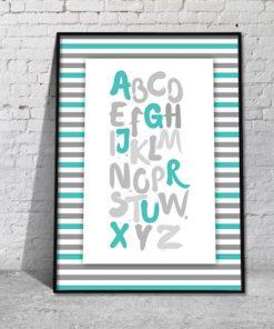 Plakat z turkusowymi literami