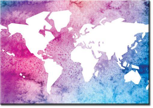 Plakat z kolorową mapą świata
