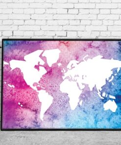 Plakat z mapą świata dla dzieci