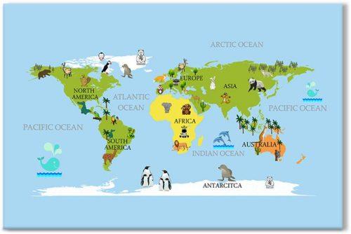Dekoracja dla dzieci z mapą świata