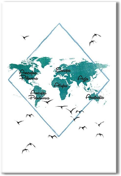Obraz mapa świata i mewy