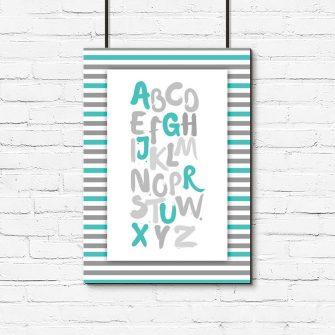 plakat dla dziecka z turkusowym alfabetem