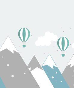 fototapeta z górami i balonami dla dzieci