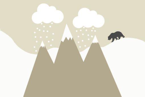 Tapeta z uroczym wzorem w postaci gór zimą i niedźwiadkiem