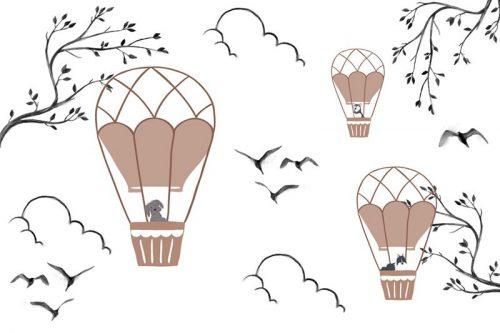 Fototapeta ze zwierzaczkami w balonach do pokoju dziecięcego