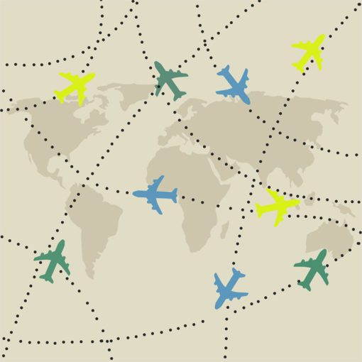 Mapa z samolotami jako motyw fototapety