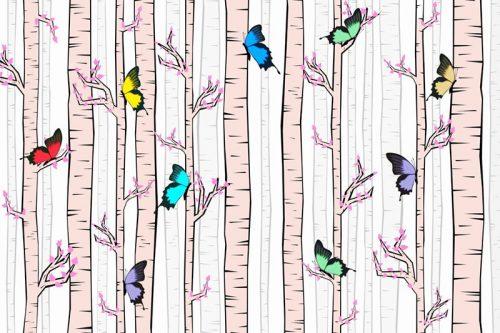 Tapeta z brzozowym lasem i motylkami