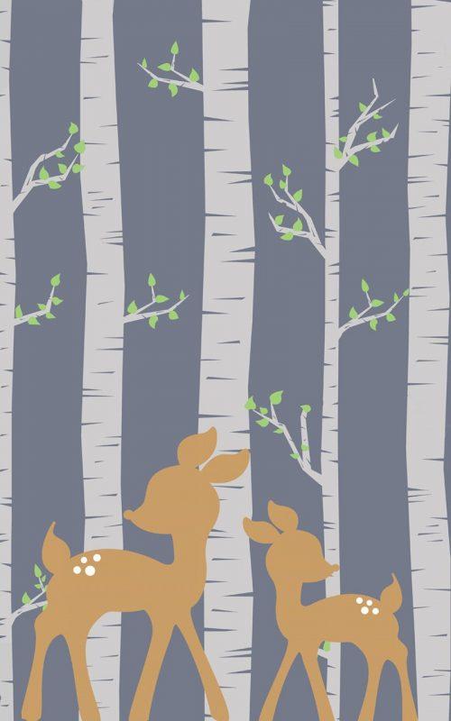 Tapeta do pokoju dziecka z motywem sarenek w brzozowym lesie