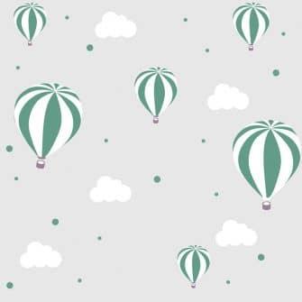 Tapeta w modnych kolorach z motywem balonów i chmurek