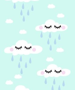 Dekoracja ścienna z urokliwym motywem chmurek i deszczu dla dzieci