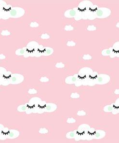 Tapeta z chmurami na różowym tle do pokoju dziewczynki