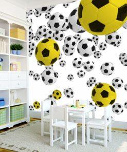 Fototapeta z żółtą piłką nożna