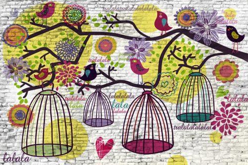 dekoracja z kolorowymi ptaszkami