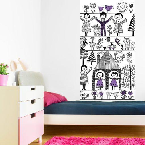Tapeta rysunkowa z uroczym motywem do pokoju chłopca lub dziewczynki