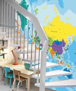 Mapa z kontynentami do pokoiku dziecka