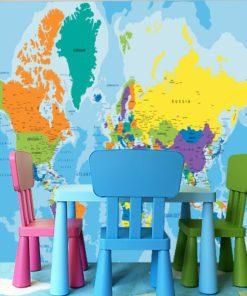 Mapa do pokoju dziecka w formie fototapety