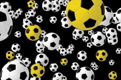Fototapeta w modnych kolorach z piłkami