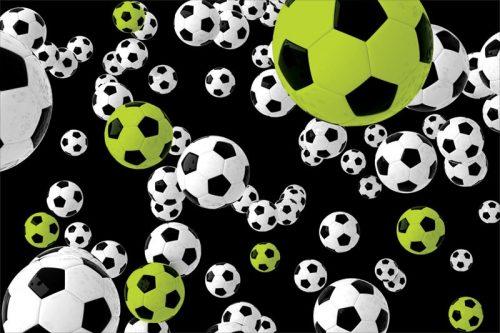 Fototapeta w ciekawej kolorystyce z motywem piłki nożnej