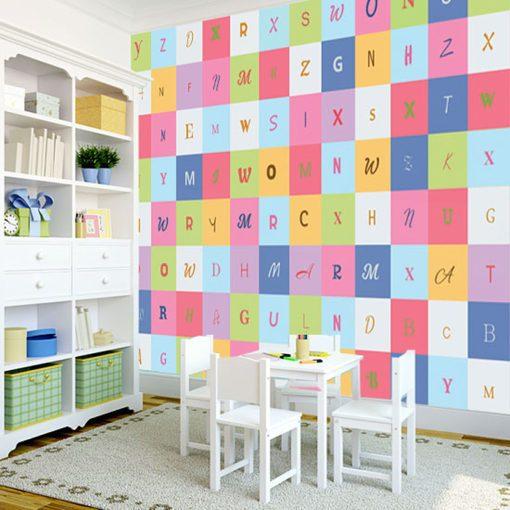 Tapeta w kolorowe litery do pokoju dzieci