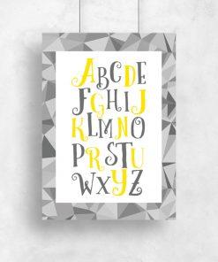 szary plakat dla dzieci z żółtymi literkami